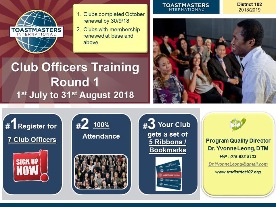Toastmasters Malaysia District 102 COT Round 1