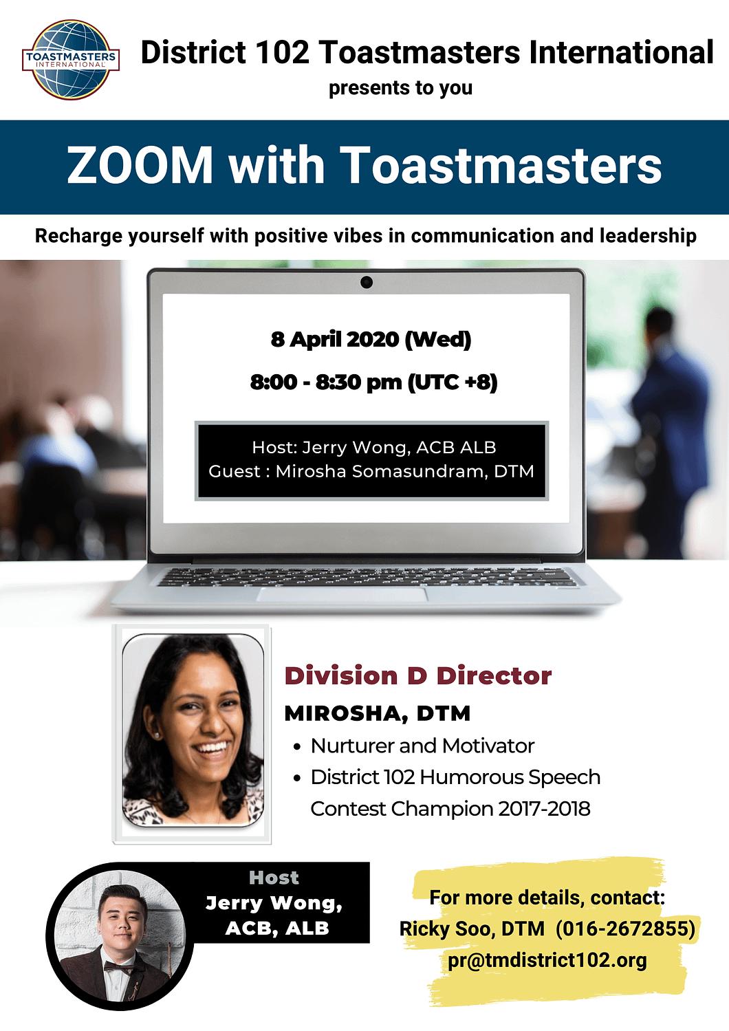 ZOOM with Toastmasters - Mirosha Somasundram, DTM