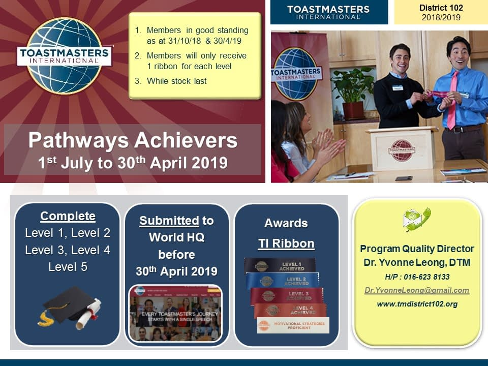 Toastmasters Malaysia District 102 Pathways Achievers