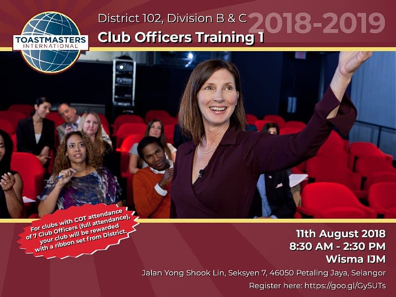 Toastmasters District 102 Malaysia Division BC COT 1