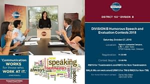 Toastmasters Malaysia District 102 Division B Humorous Speech & Evaluation Contest