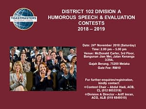 Toastmasters Malaysia District 102 HSSE_2018_DivA