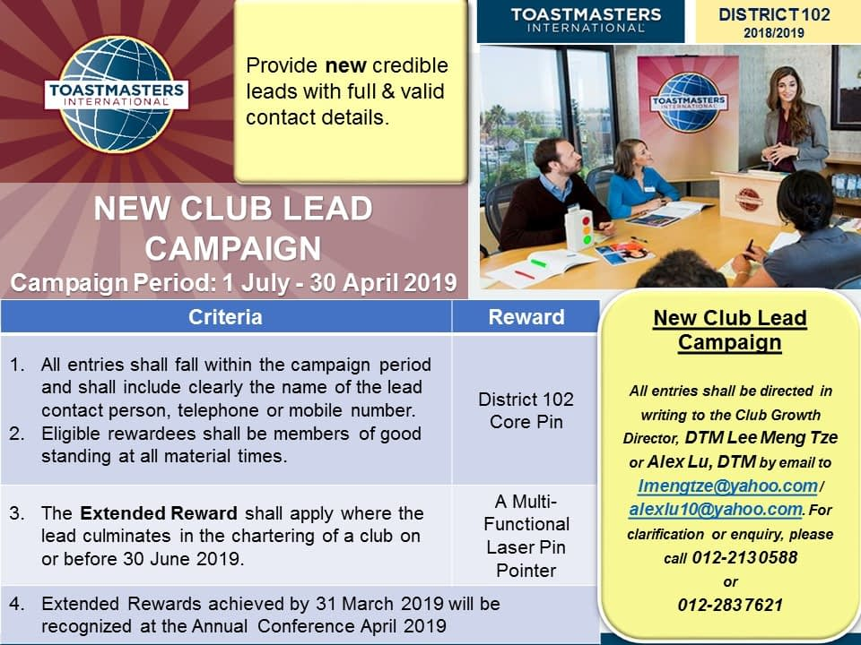Toastmasters Malaysia District 102 New Club Lead