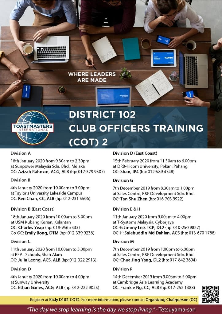 District 102 Club Officer Training 2