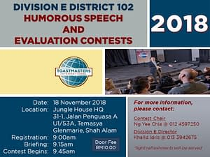 Toastmasters Malaysia District 102 HSSE_2018_DivE
