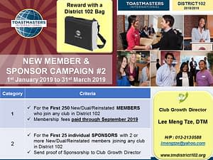 Toastmasters Malaysia District 102 MEMBER SPONSOR CAMPAIGN ROUND 2