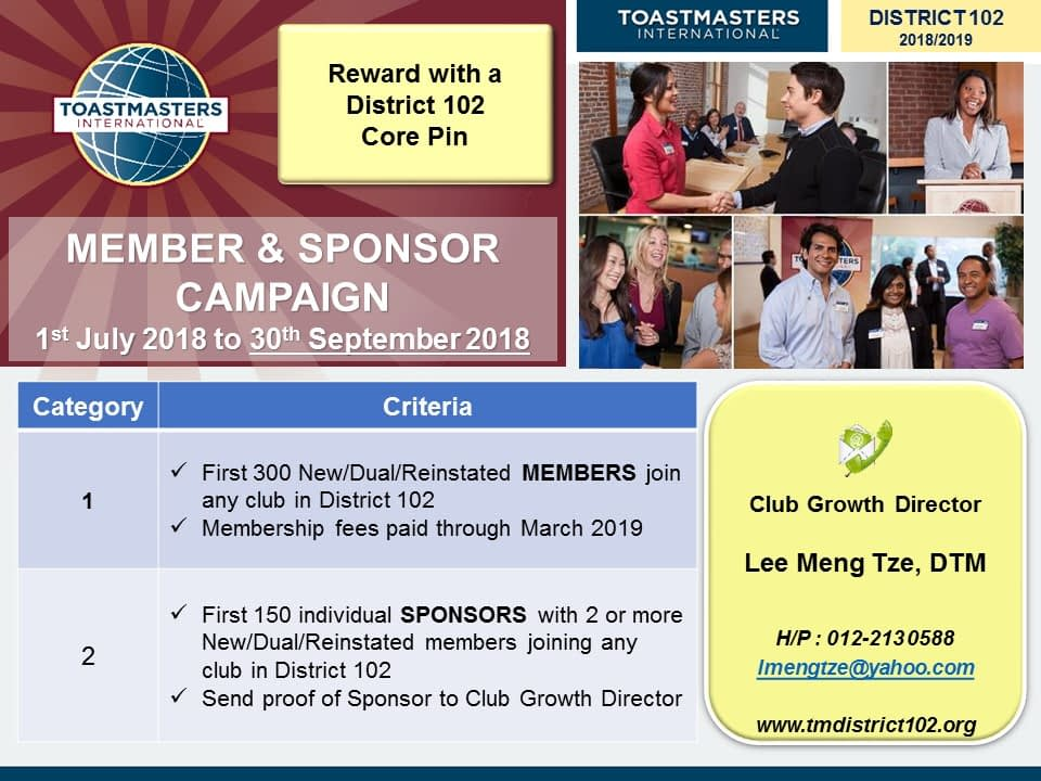 Toastmasters Malaysia District 102 MEMBER & SPONSOR CAMPAIGN