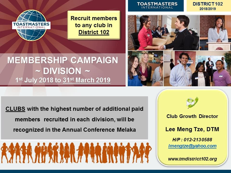 Toastmasters Malaysia District 102 MEMBERSHIP CAMPAIGN_DIVISION_