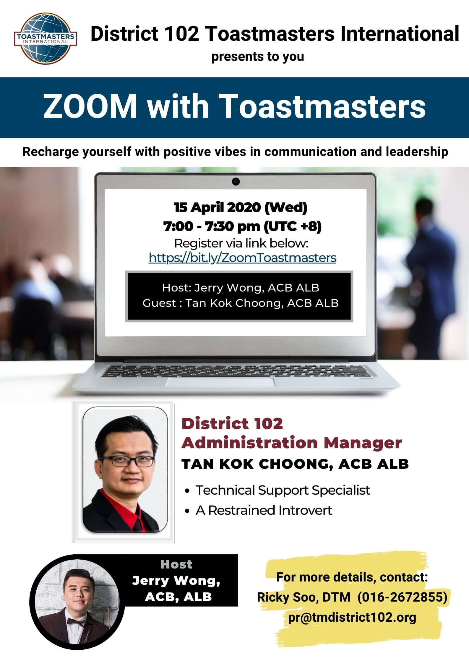 Zoom With Toastmasters Tan Kok Choong Acb Alb Toastmasters