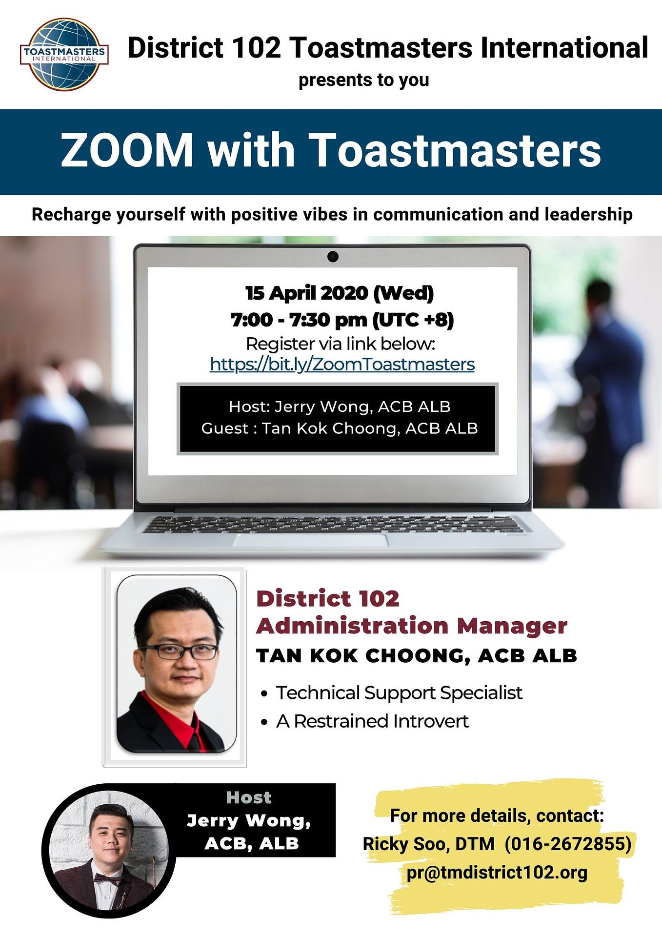 Zoom With Toastmasters Tan Kok Choong Acb Alb Toastmasters
